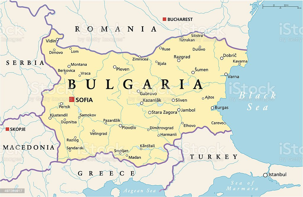Bulgaria Political Map vector art illustration