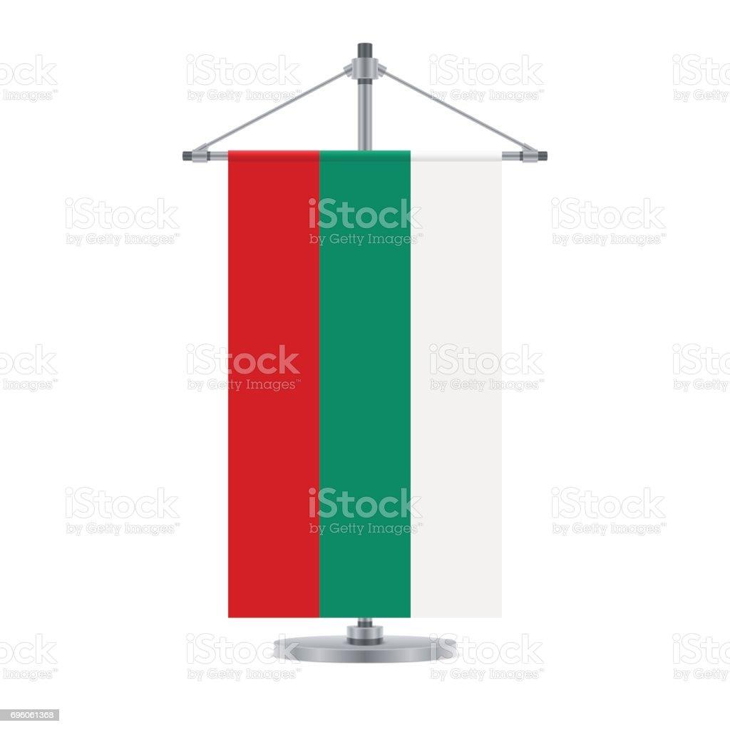Bulgarian flag on the metallic cross pole, vector illustration vector art illustration