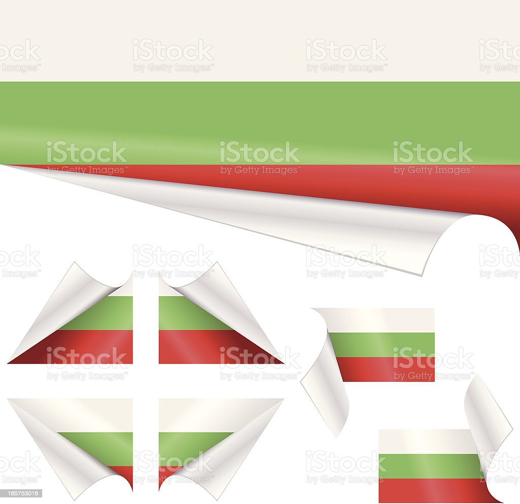 Bulgarian Flags behind Curled Paper vector art illustration