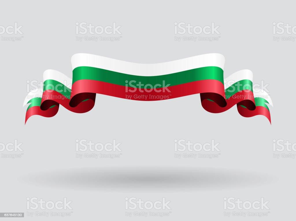 Bulgarian wavy flag. Vector illustration. vector art illustration