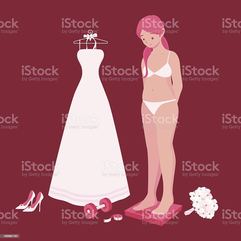 Bulging Bride on a Scale vector art illustration