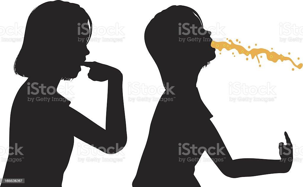 Bulimia - Bulimic Teenage Girl Induces Vomit vector art illustration