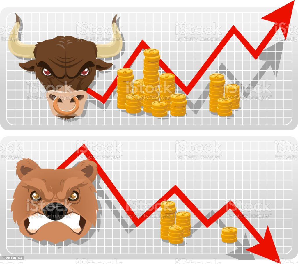Bull and bear analysis chart vector art illustration