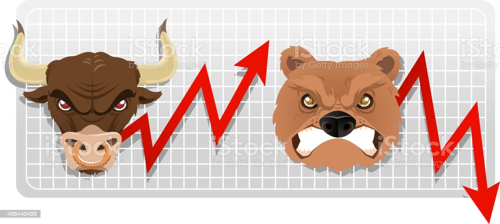 Bull and bear chart vector art illustration