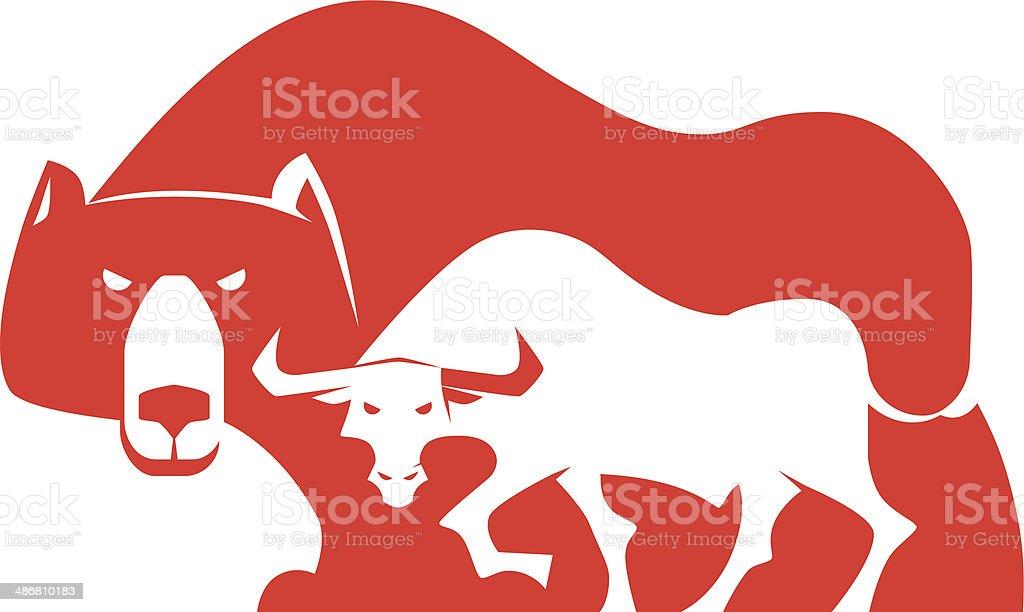 bull and bear silhouette vector art illustration