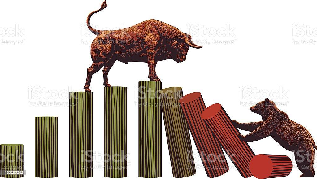 Bull and Bear -Stock Market Trends vector art illustration