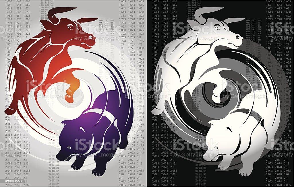 Bull and Bear vector art illustration