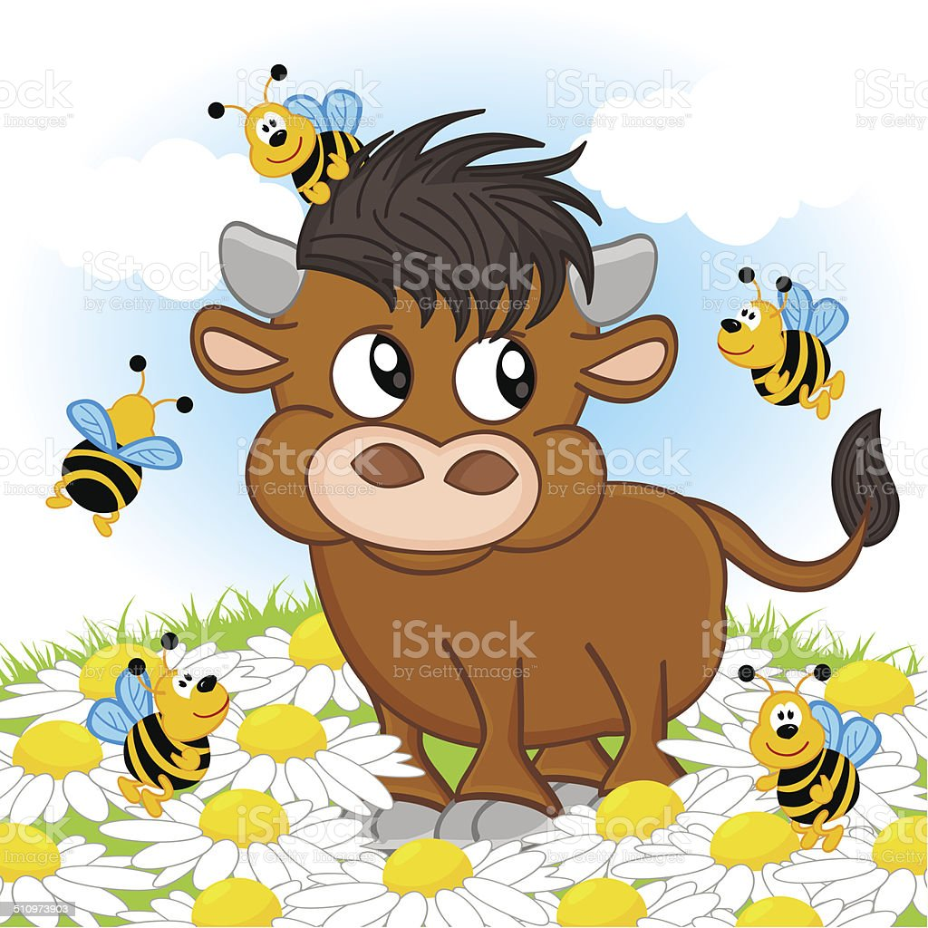 bull and bee vector art illustration