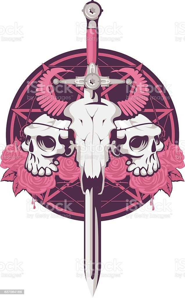 bull and human skull with sword vector art illustration