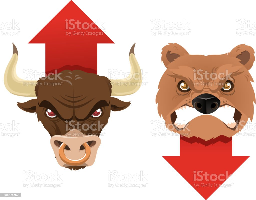 Bull & bear trends icons royalty-free stock vector art