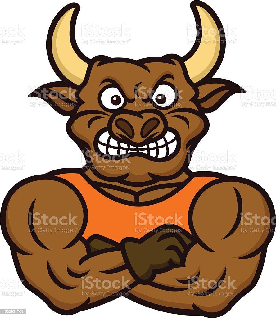 Bull Bodyguard vector art illustration