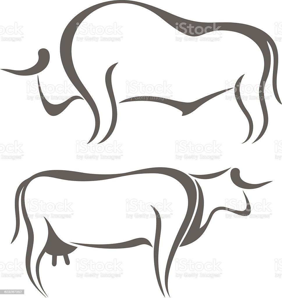 Bull. Cow. Farm Animal vector art illustration