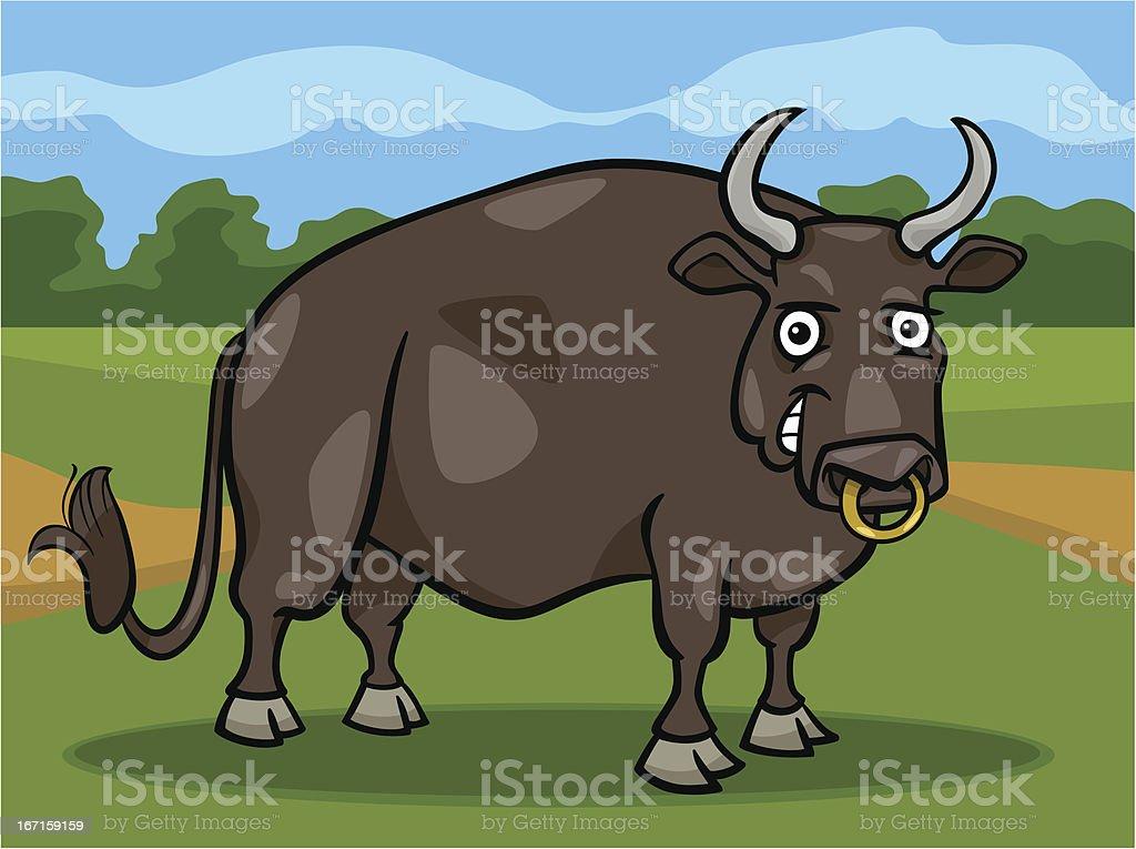 bull farm animal cartoon illustration royalty-free stock vector art