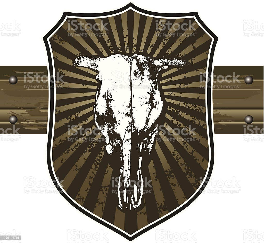 bull head with grunge vintage shield vector art illustration