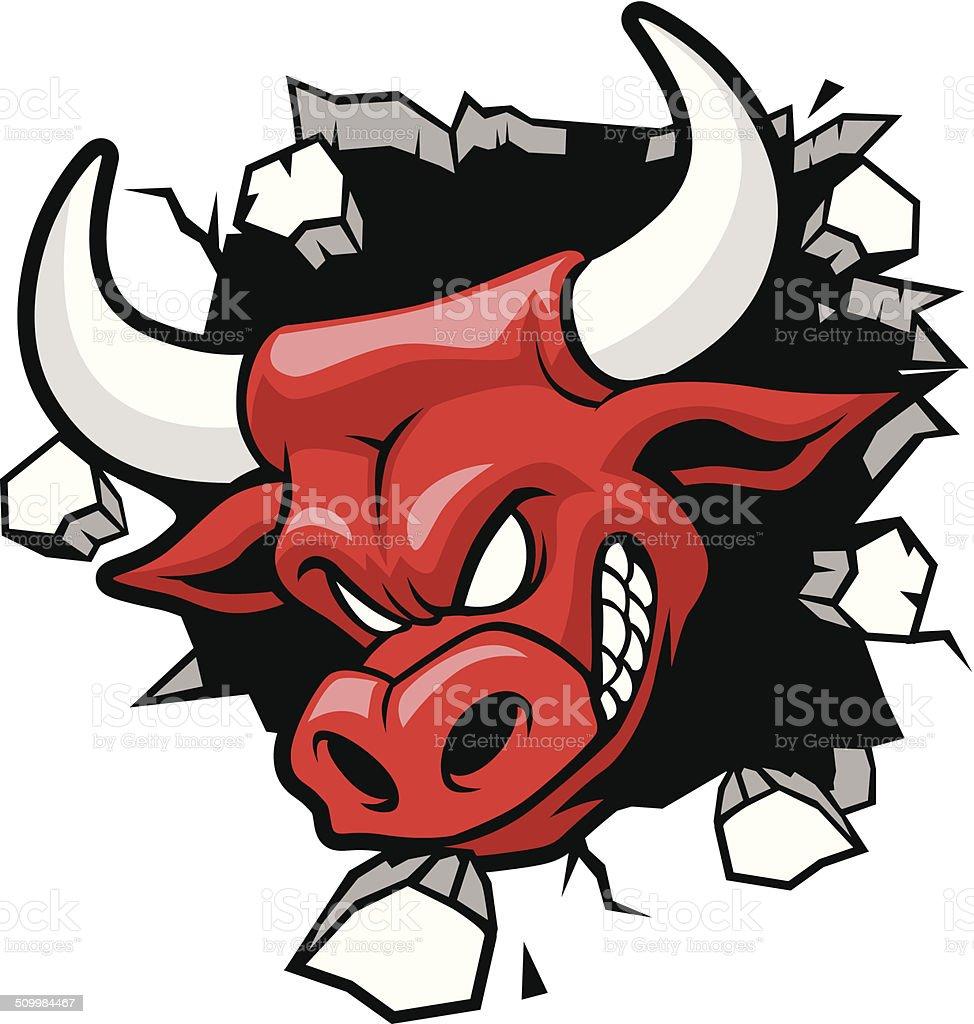 bull heading a wall vector art illustration