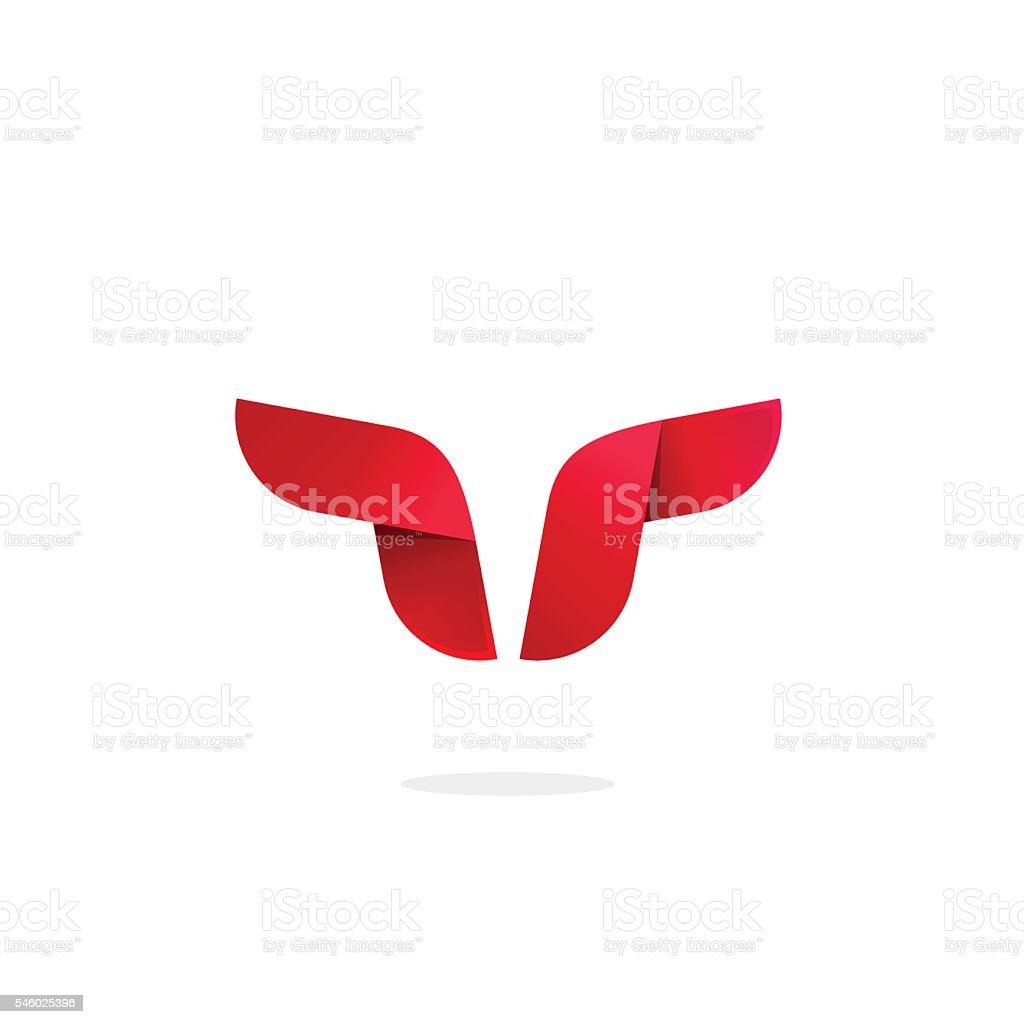 Bull logo template vector, buffalo horns abstract, strong cattle geometric vector art illustration