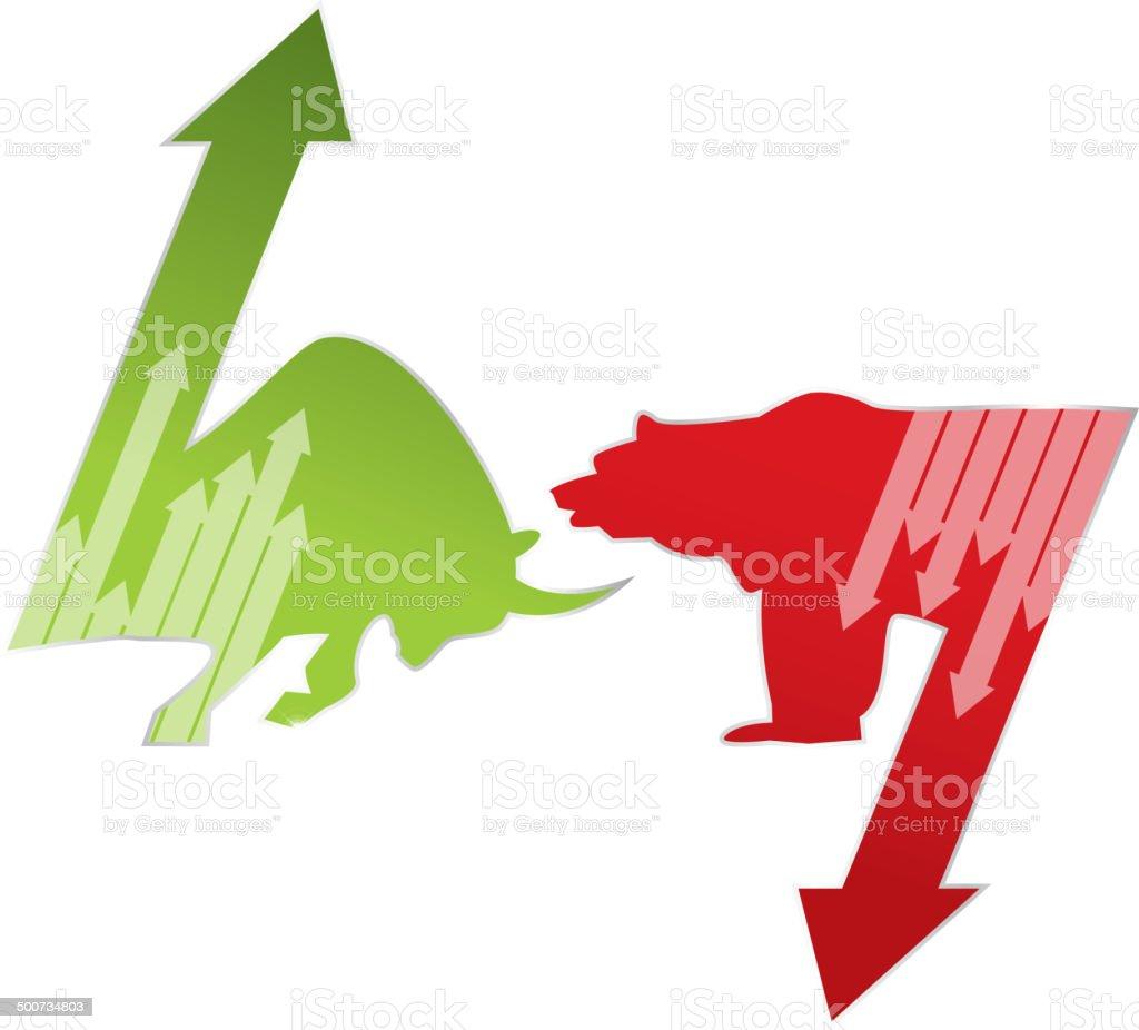 Bull market and bear market vector art illustration