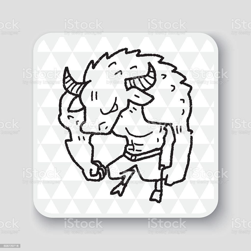 bull monster doodle vector art illustration