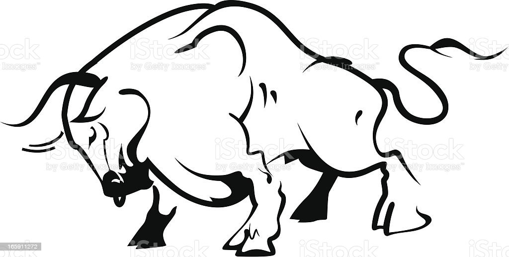 Bull outline royalty-free stock vector art