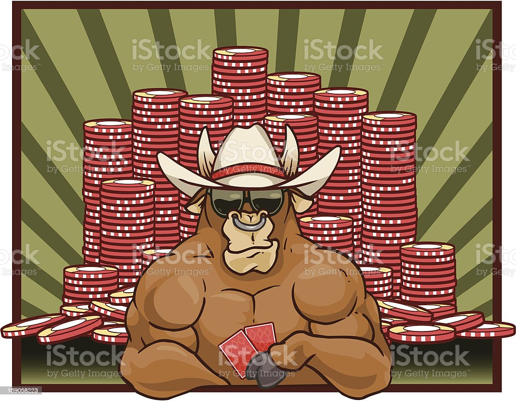 Bull Playing Poker vector art illustration