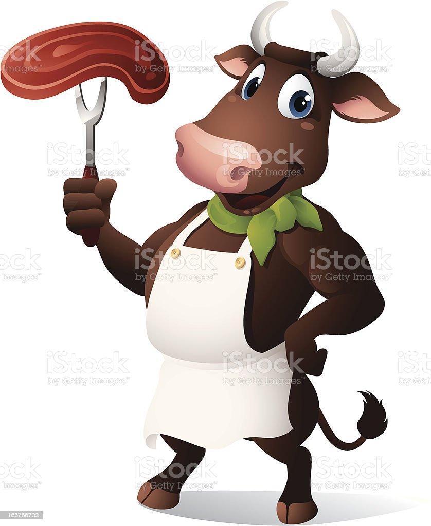 Bull - red meat vector art illustration