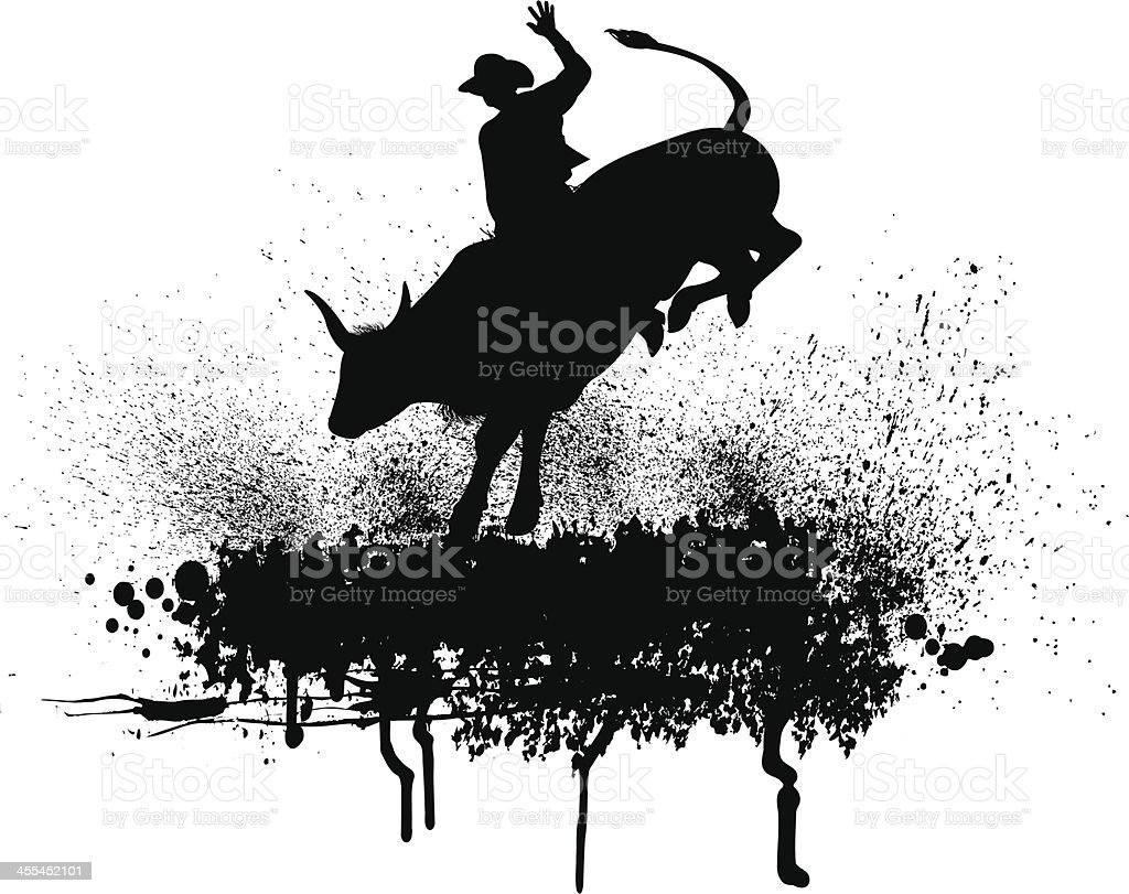 Bull Rider - Rodeo Cowboy Background royalty-free stock vector art
