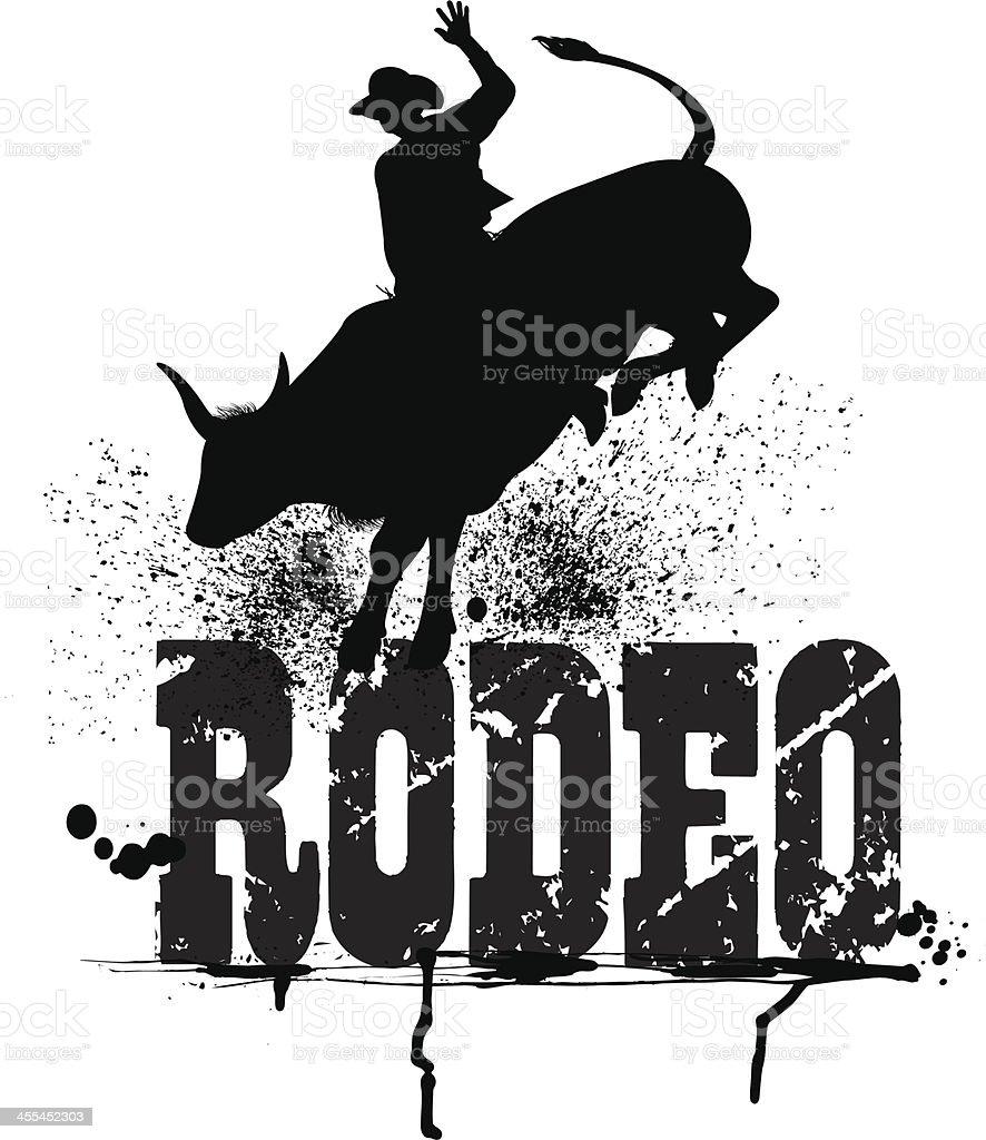 Bull Rider - Rodeo Cowboy Graphic royalty-free stock vector art