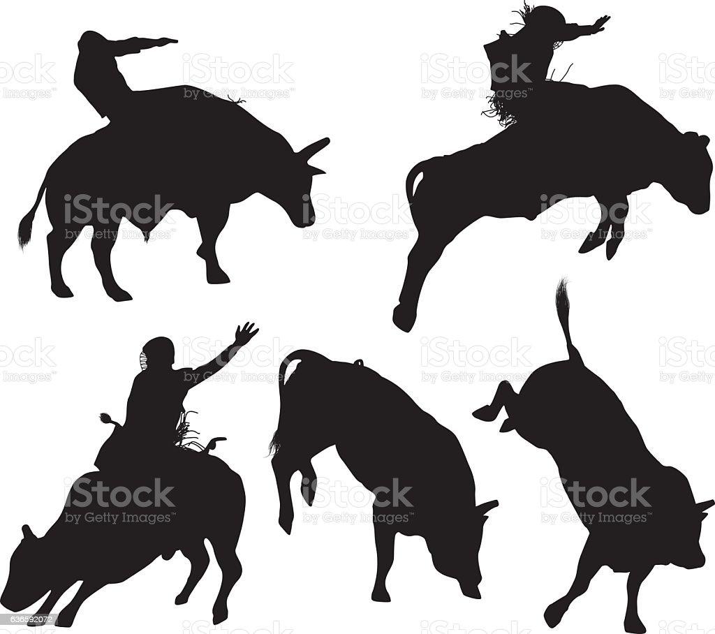 Bull riding vector art illustration