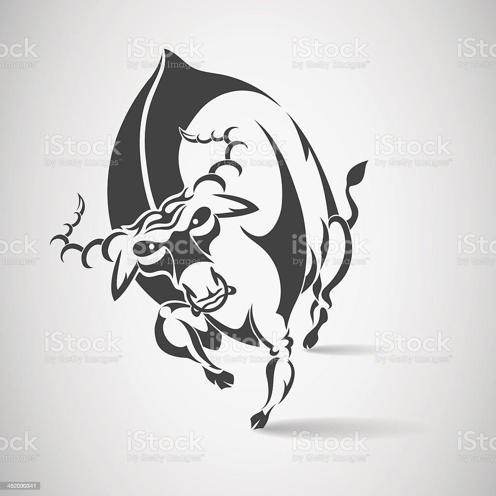 bull runs vector art illustration