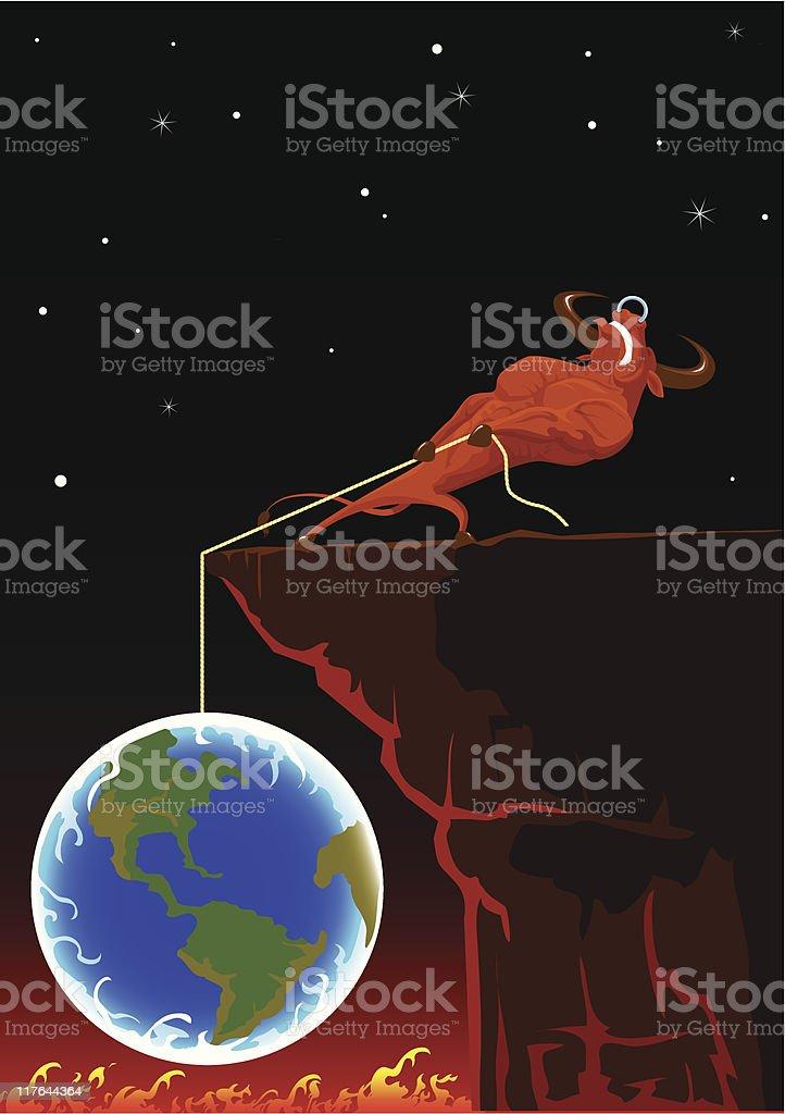 bull save Earth royalty-free stock vector art