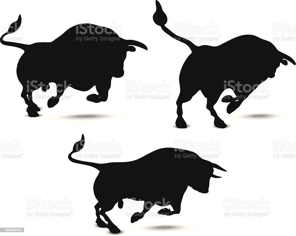 Bull Silhouette vector art illustration