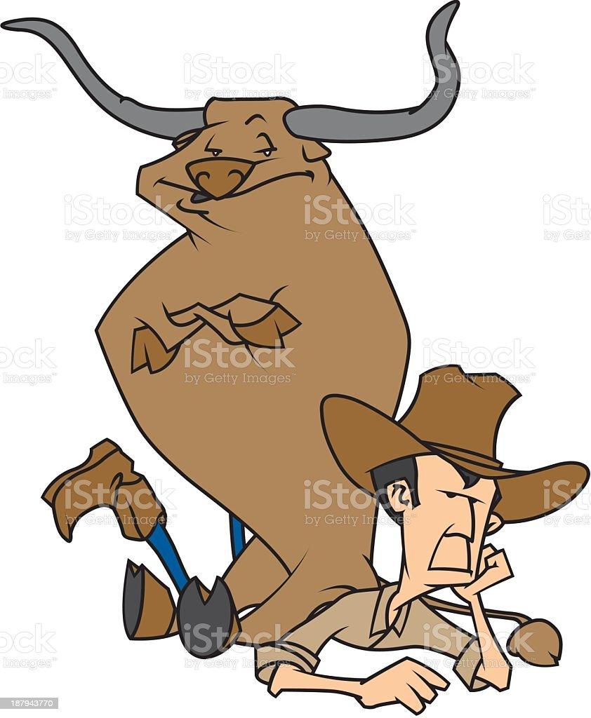 Bull Sitting on Cowboy royalty-free stock vector art