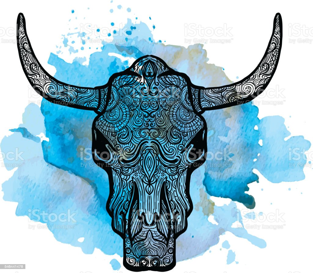 Bull skull doodle drawing hand drawn on watercolor texture vector art illustration