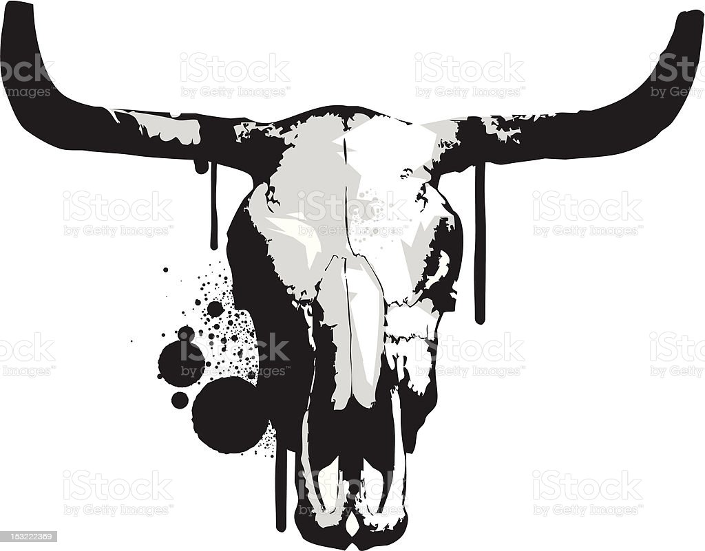 Bull Skull Stencil royalty-free stock vector art