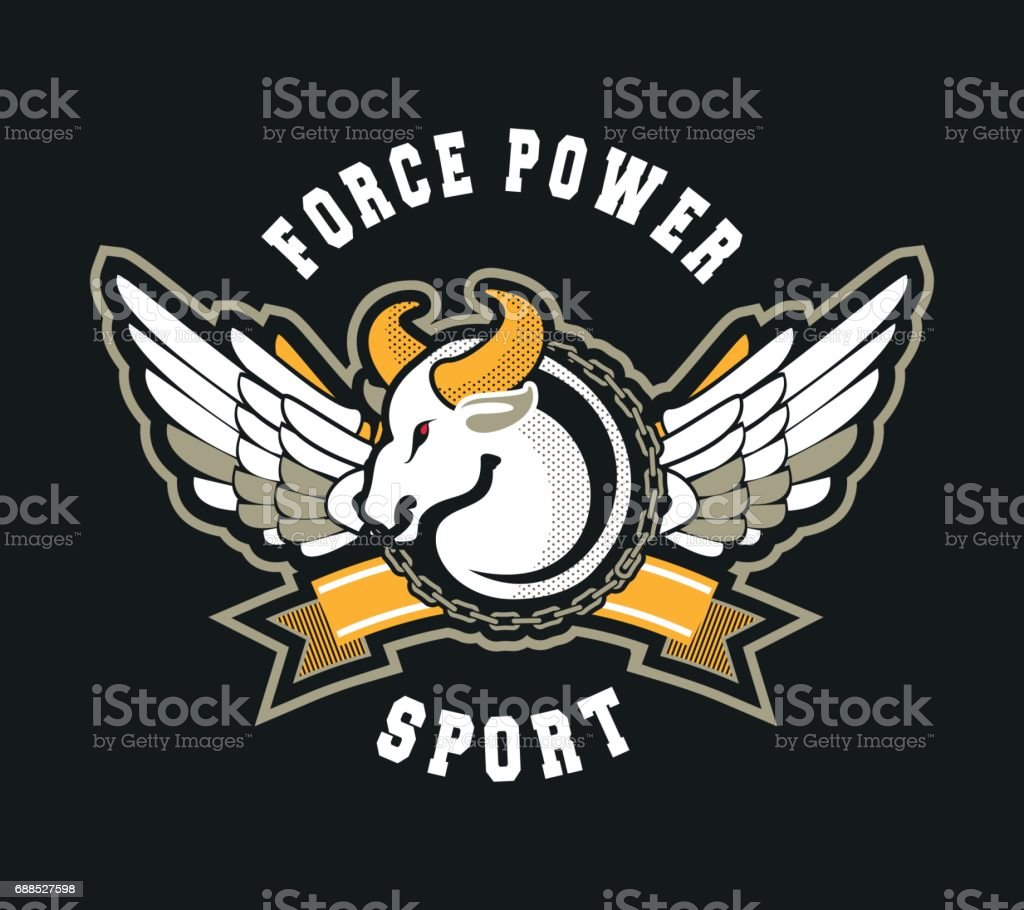Bull sport sign vector art illustration