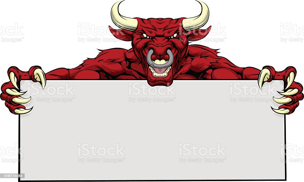 Bull Sports Mascot Sign vector art illustration
