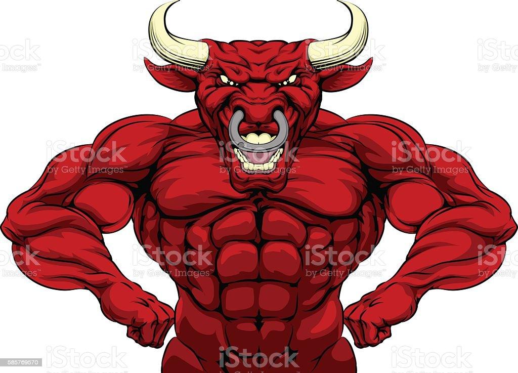 Bull Sports Mascot vector art illustration