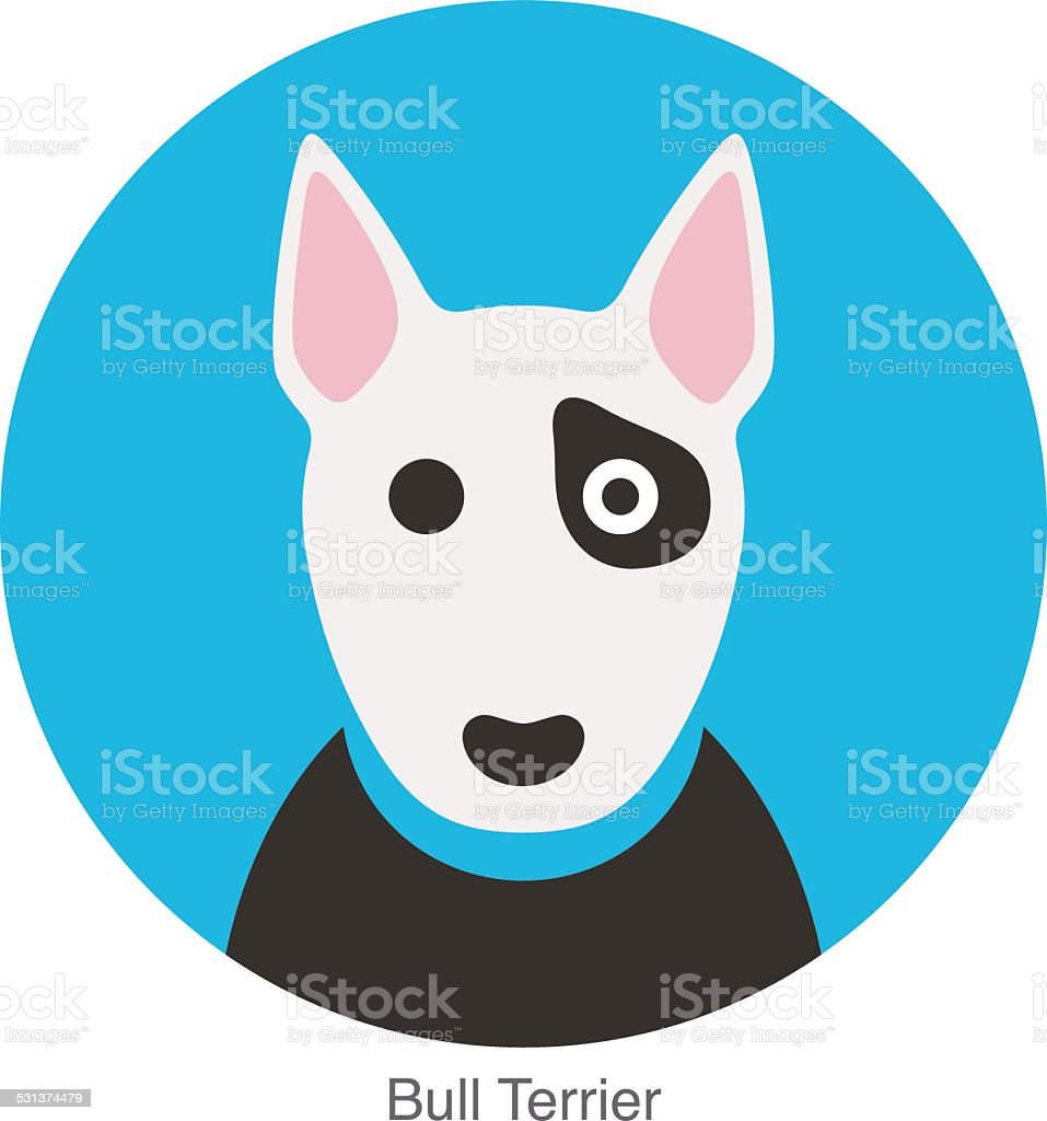 Bull terrier dog face flat icon, dog series vector art illustration