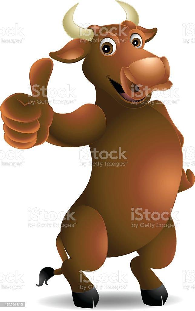 Bull: Thumbs up! royalty-free stock vector art