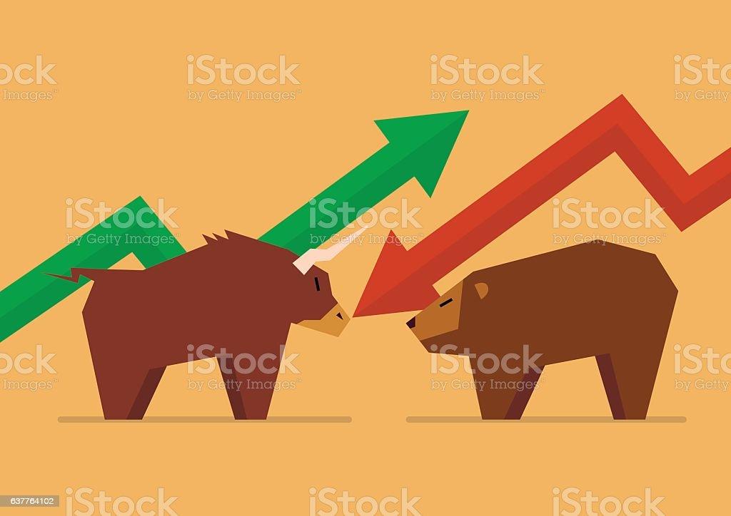 Bull vs Bear symbol of stock market vector art illustration