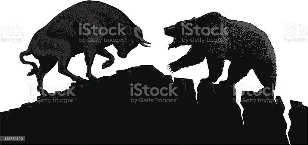 Bull vs Bear vector art illustration
