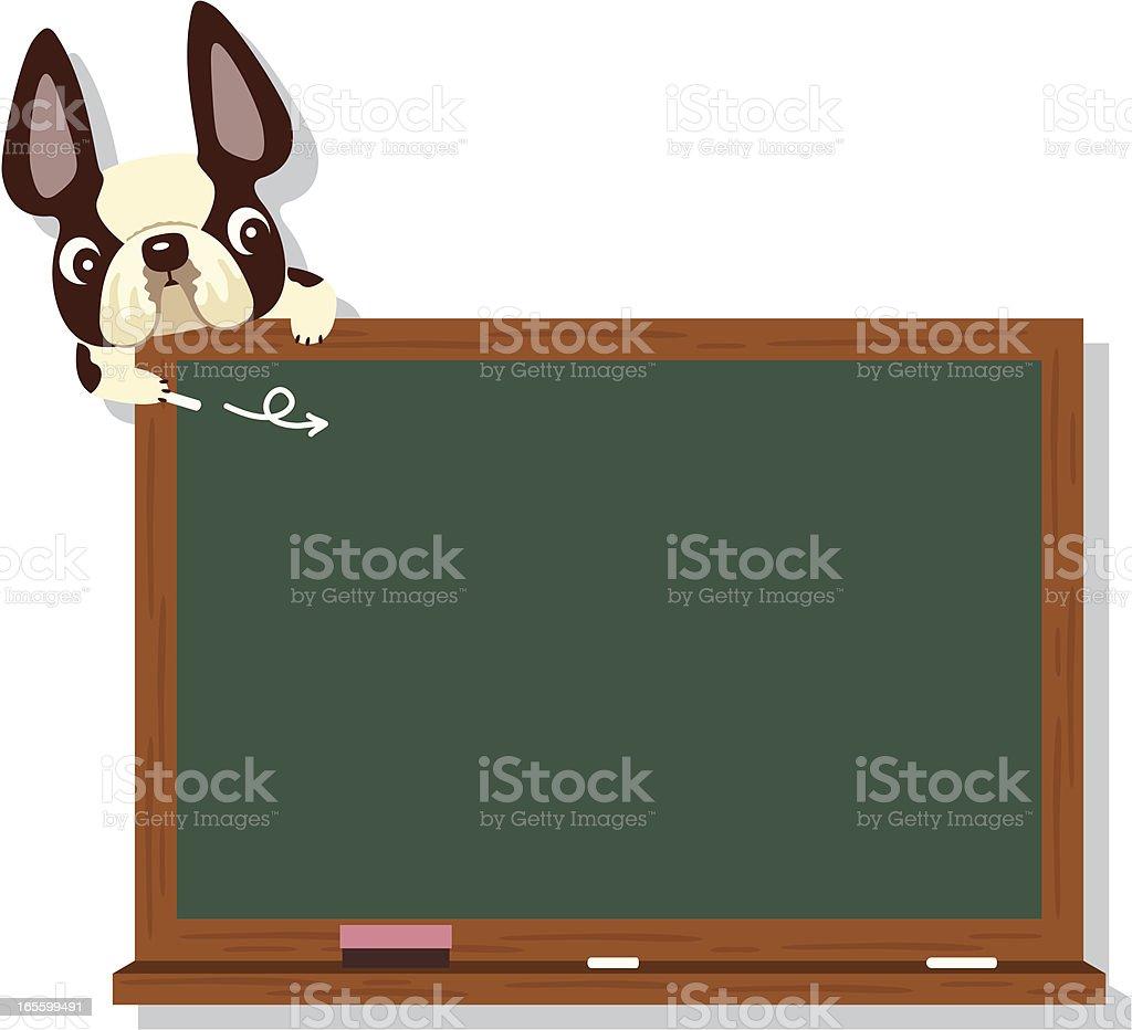 Bulldog and Blackboard royalty-free stock vector art