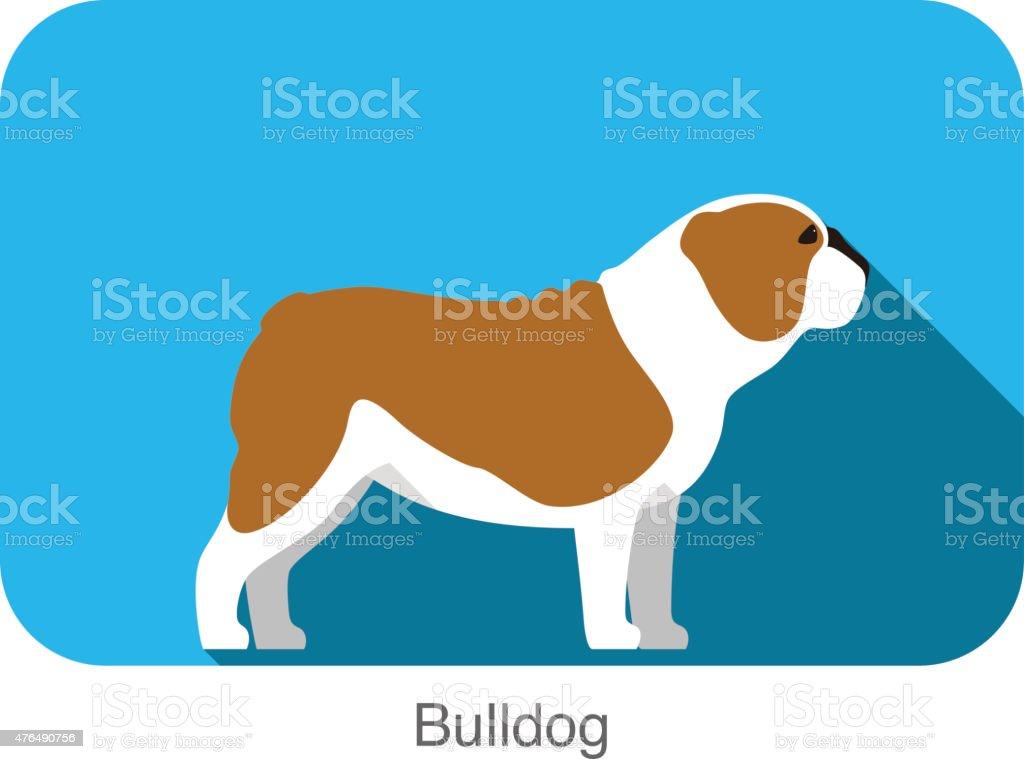 Bulldog, dog standing flat icon design vector art illustration