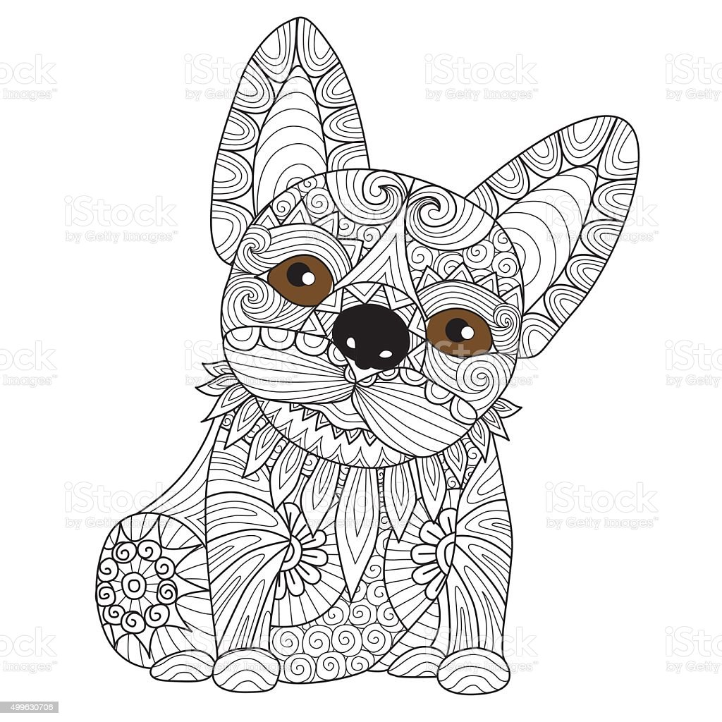 bulldog puppy coloring page stock vector art 499630706 istock
