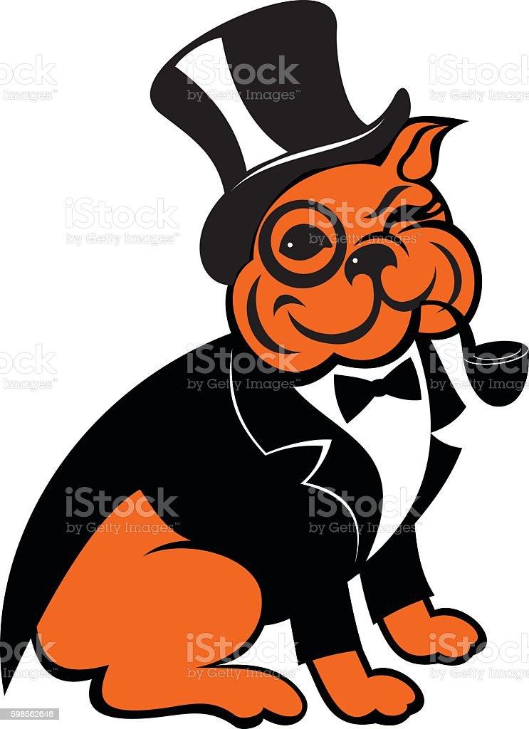 bulldog smokes a pipe vector art illustration