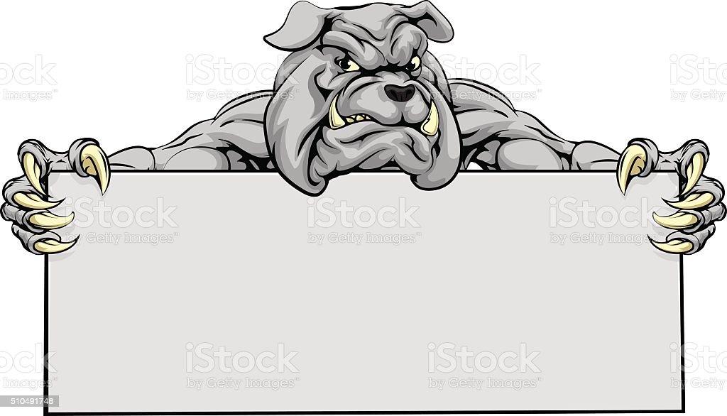 Bulldog Sports Mascot Sign vector art illustration