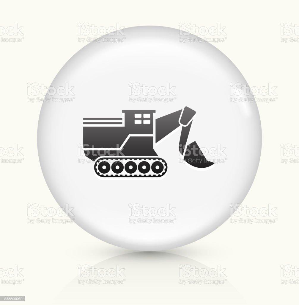 Bulldozer icon on white round vector button vector art illustration