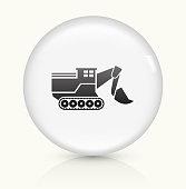 Bulldozer icon on white round vector button
