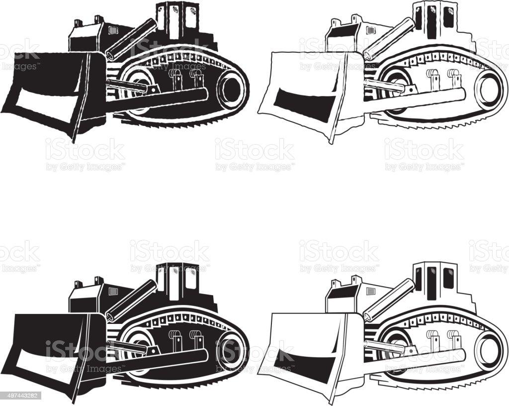 Bulldozer illustration isolated on white background. Vector vector art illustration