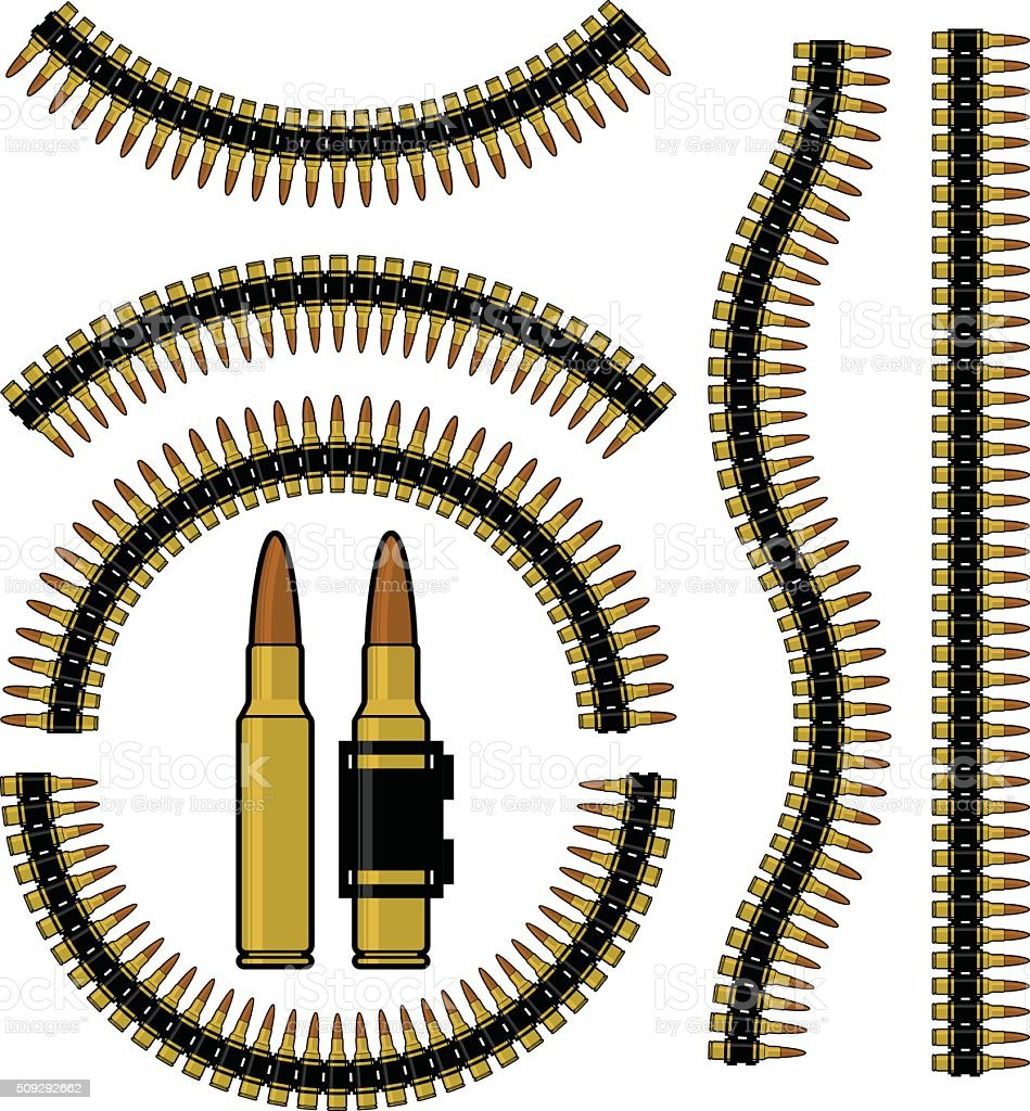 Bullet and machinegun cartridge belt vector art illustration